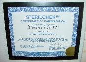 Picture of Sterilchek spore test certificate of participation