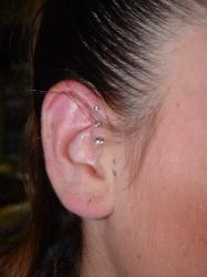 Picture of Triple Forward Helix. Mystical Body Piercing Shop Modesto, CA